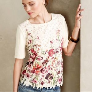 Anthro Sunday in Brooklyn Canna Lace Floral Tee